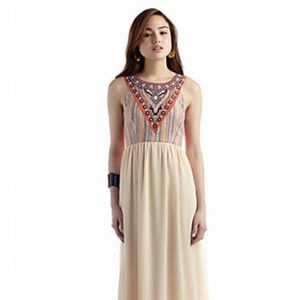 Flying Tomato Tribal Embroidered Maxi Dress sz S